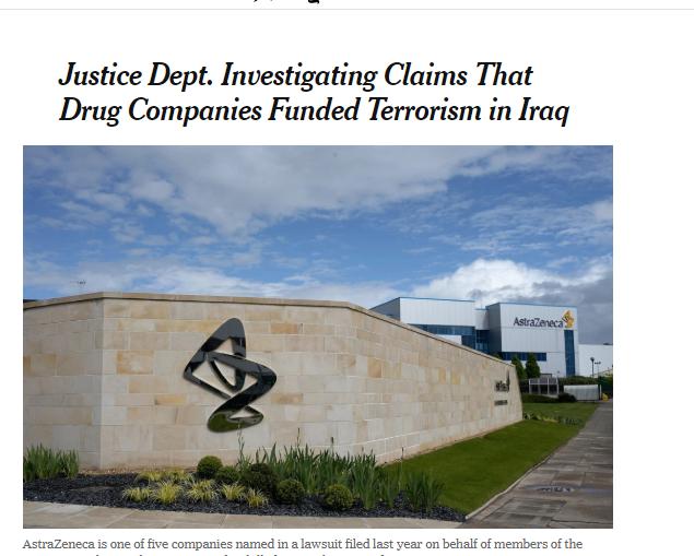 نيويورك تايمز | العدل الامريكية تحقق مع 5 شركات للادوية مولت الارهاب بالعراق ترجمة#خولة_الموسوي