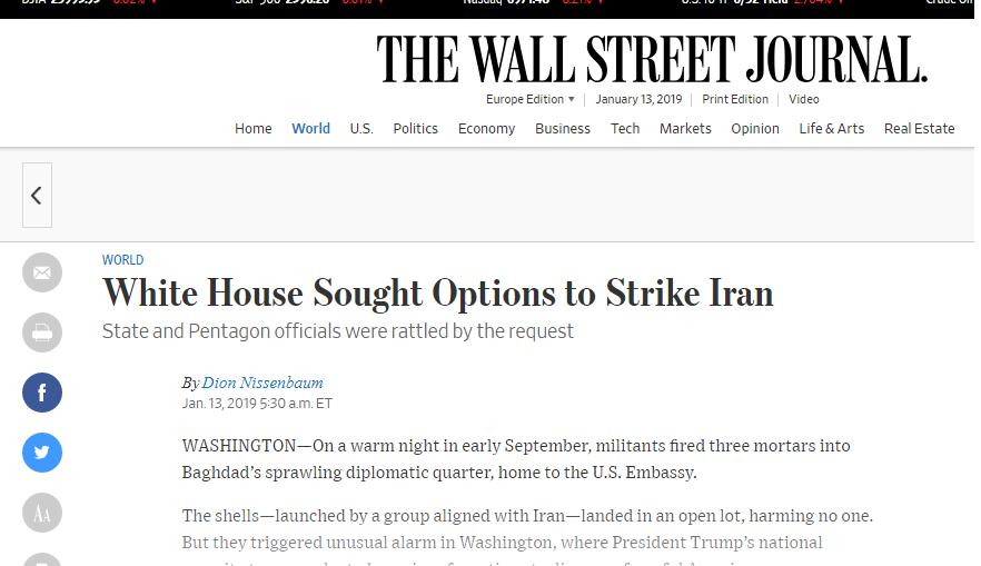 ترامب اراد قصف ايران ردا على قصف السفارة الامريكية في بغداد في ايلول الماضي ترجمة خولة الموسوي