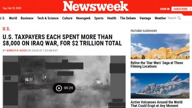 Photo of طركاعة!نيوزويك:دافعو الضرائب الأمريكيون ينفقون أكثر من 8000 دولار على حرب العراق ، مقابل 2 تريليون دولار