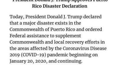 Photo of !ترامب يعلن ساوث كارولينا وبويرتو ريكو منطقة كوارث