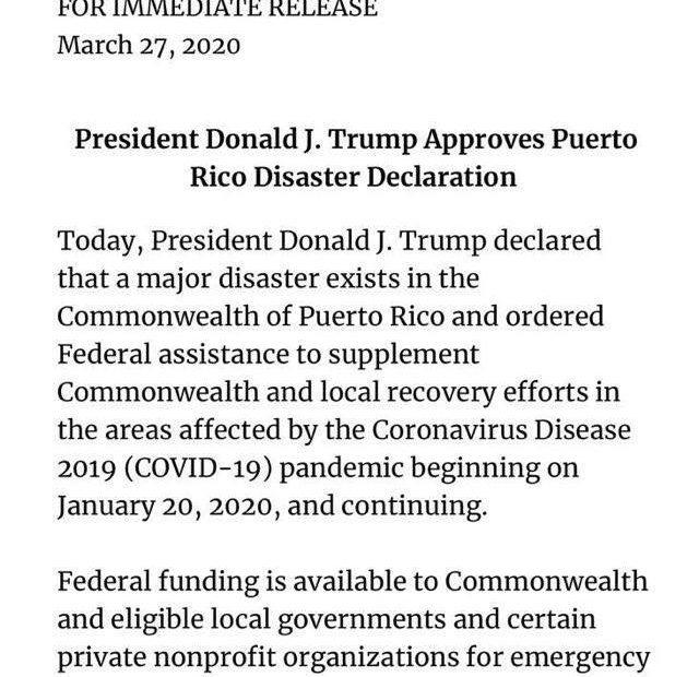 !ترامب يعلن ساوث كارولينا وبويرتو ريكو منطقة كوارث
