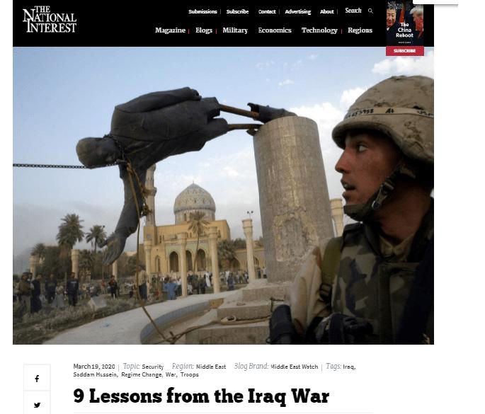 ناشيونال إنترست الامريكية: في الذكرى 17 للغزو الأميركي.. 9 دروس من حرب العراق