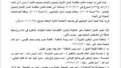 Photo of المركزي العراقي يضع 4 مؤسسات عراقية بلائحة الارهاب