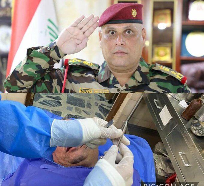 فرارية الحشد يصيبون امر لواء 56 العميد حازم سلمان الحنابي حماية قصر الكاظمي