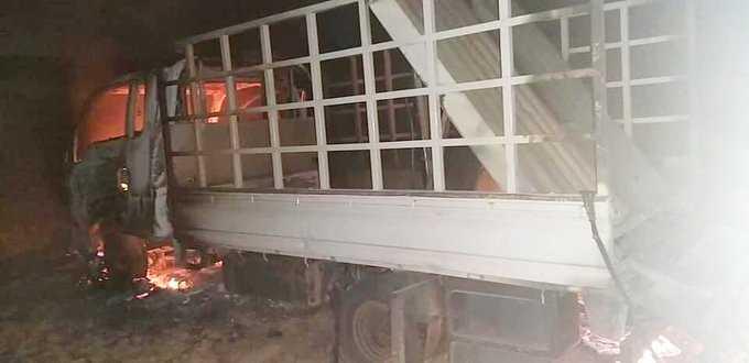 كردستان / سيارة القدو الشبكي التي اطلقت الصواريخ علينا احترقت