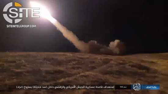 وينشر صورها واهل الكهف تصدر بيانا .... داعش الارهابي يعلن قصف قاعدة القادسية (عين الاسد) الامريكية بالانبار بأ15 صاروخا