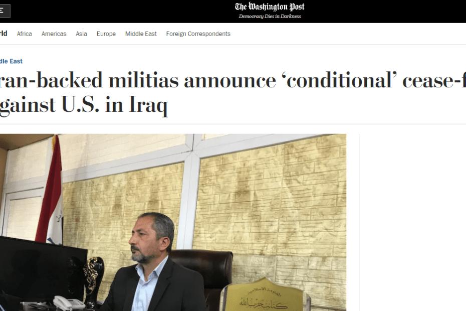 واشنطن بوست تعلق على اعلان عطوة المليشيا للقوات الامريكية
