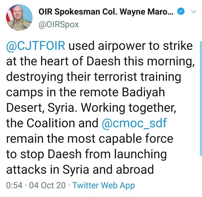 بمن تصدق ؟التحالف الدولي قصفنا معسكرا لداعش والحشد الشعبي قصفوا لواء لنا على الحدود السورية