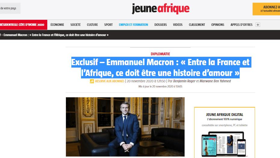 مقابلة الرئيس الفرنسي مع مجلة جون افريك