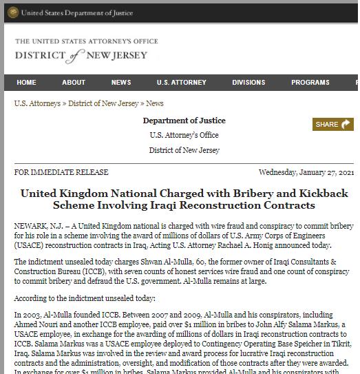 حوبة الطاهران بوش وتابعه بلير !تاولايات المتحدة تتهم بريطانياً بدفع رشاوى للحصول على عقود في العراق