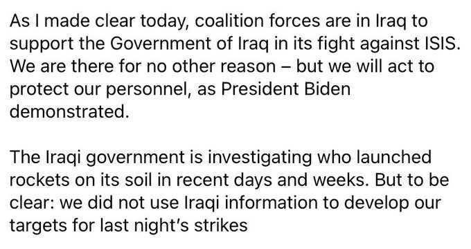 البنتاغون وامريكا كلبوا !العراق لم يزودنا باحداثيات قصف المليشيا في سوريا وكتائب حزب الله:قتلوا سيد ابن رسول الله