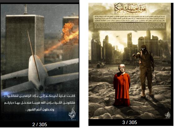 داعش الارهابي ينشر 305 صورة تصميم جديد بآن واحد منها اعدام ترامب واحتلال واشنطن!!!