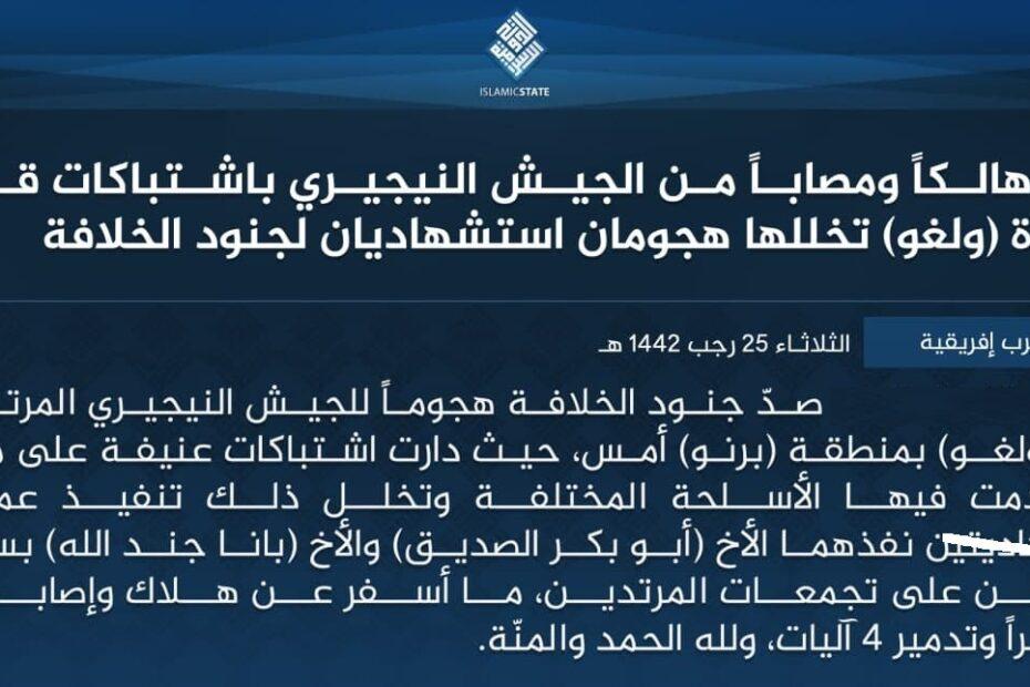 داعش الارهابي:الانتحاريان ابو بكر الصديق وجند الله قتلا 30 جنديا نايجيريا