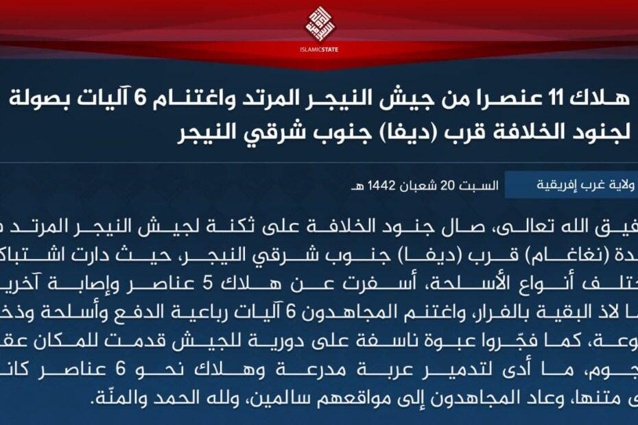 داعش الارهابي ينشر حصيلة معاركه في النيجر