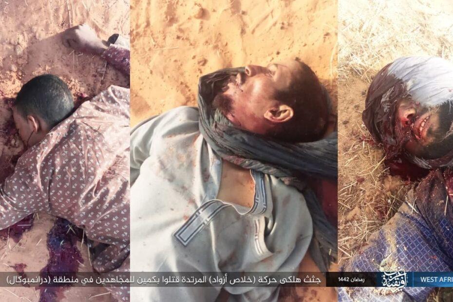 داعش الارهابي ينشر صور جثث قتلى حركة (خلاص أزواد) على تليغرام الامريكي قتلوا بكمين في منطقة (درانمبوكال)