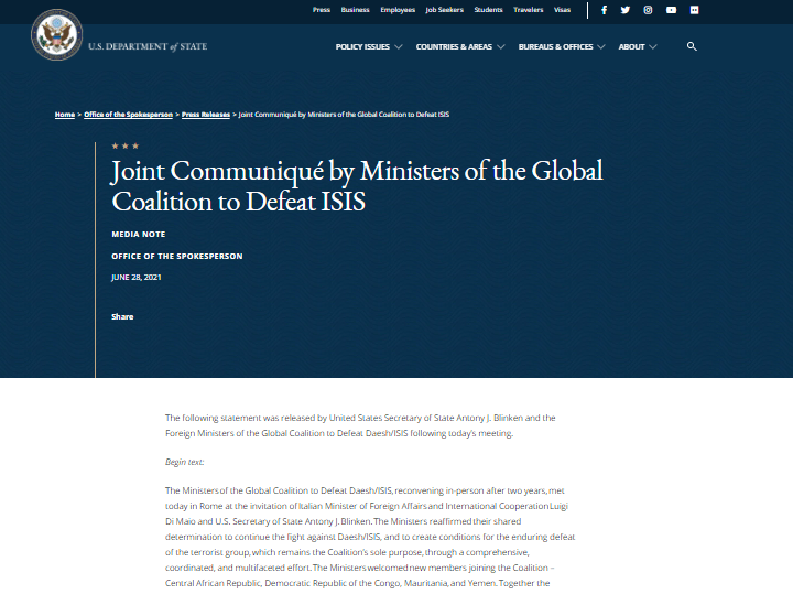 لايزال التحالف الدولي الذي يضم 83 دولة يسمي داعش الارهابي بالدولة الاسلامية التي انهارت