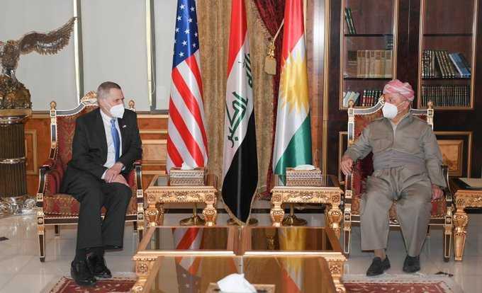 السفير الامريكي لمسعود بارزاني: وحدوا بيشمركتكم مع بيشمركة طالباني وكفى تفرقة