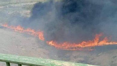 صورة حرق انبوب مياه الشرب الرئيسي تحت الجسر الهولندي بالناصرية كملت