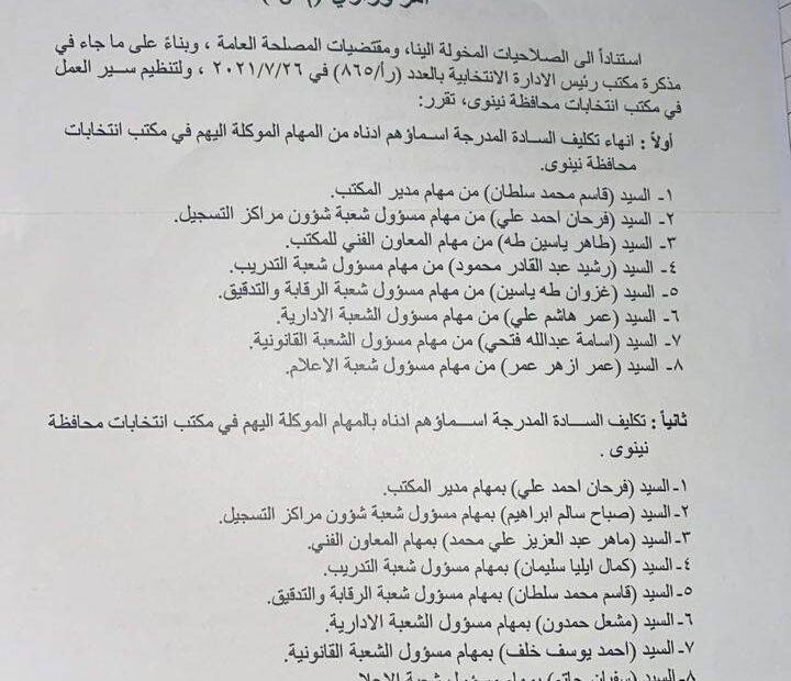 انقلاب في مفوضية نينوى بعد زيارة الحلبوسي
