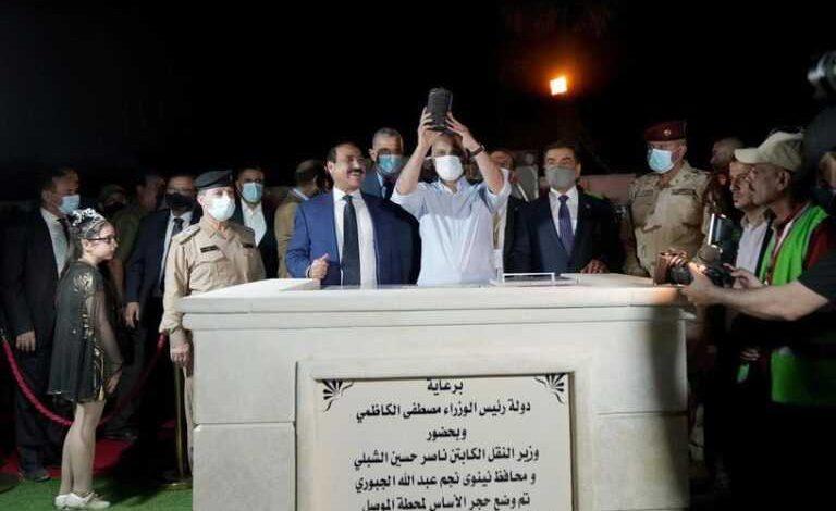 صورة اول رحلة لقطار الموصل دعم سيارة بعد يوم من وضع الكاظمي حجر الاساس