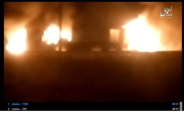 داعش الارهابي يبث الان فيديو على كوكل الامريكي عن حرق 5 اليات للجيش العراقي في جلولاء وصوت عراقي يعلق