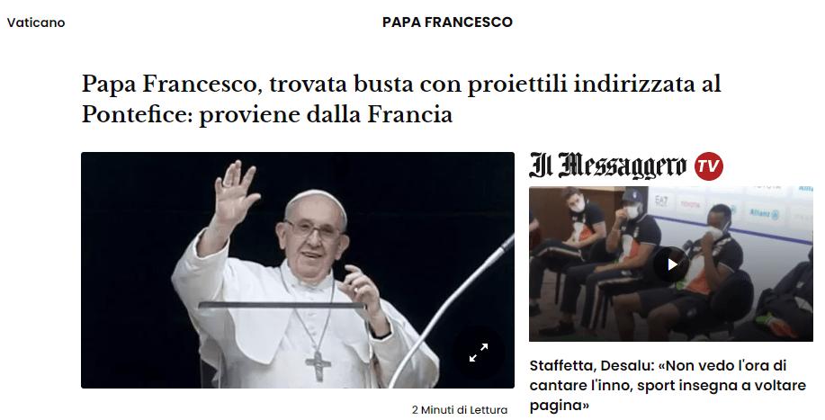 ظرف بريدي به 3 رصاصات عيار 9 ملم من فرنسا موجهة إلى البابا فرانسيس ومقتل كاهن في فرنسا