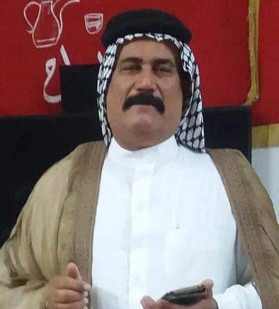 مقتل الشيخ عبد الزهرة برهان الساعدي في ميسان /نهاوند من قبل اشخاص يستقلون دراجة نارية بمكان قتل شبخ الكعب