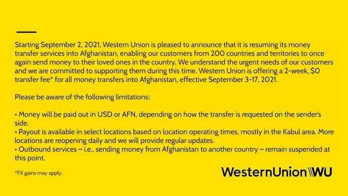 شركة الاتحاد الغربي (ويسترن يونيون) تعلن استئناف خدماتها المصرفية في #أفغانستان.